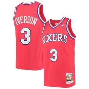 Men's 76ers Allen Iverson Nike Red 3  Jersey